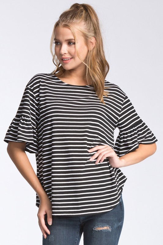 Stripe top short sleeve with ruffle