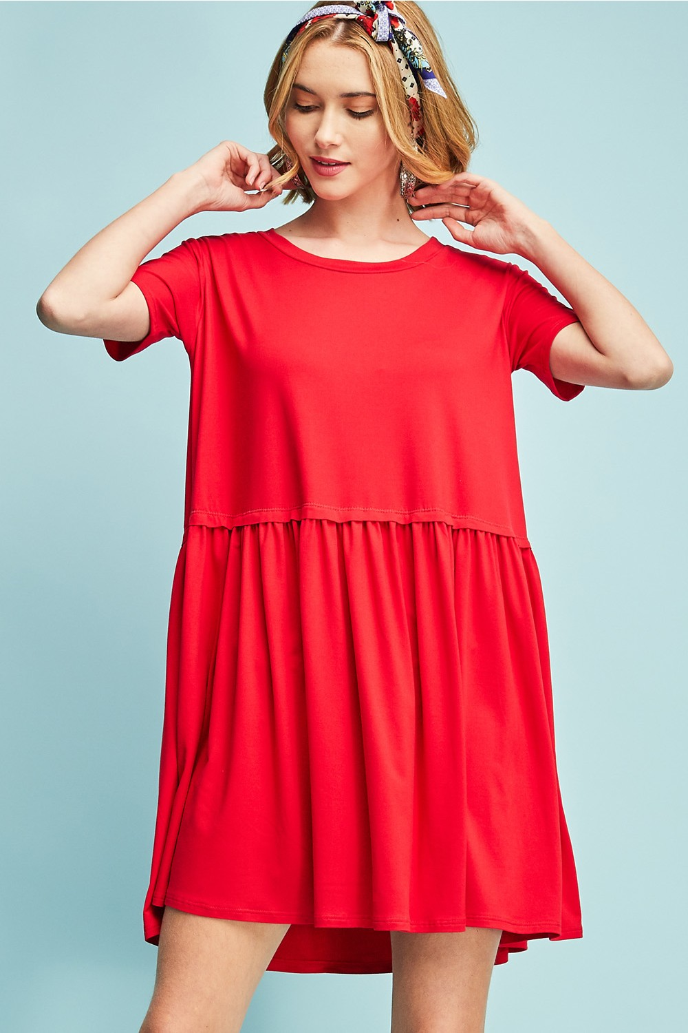 Solid short sleeve baby doll dress ruched detail 8