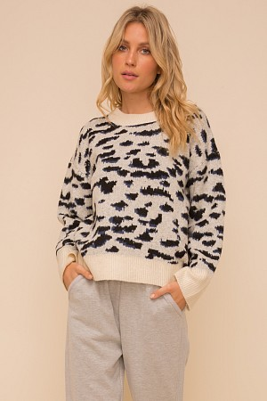 CHEETAH PRINT SWEATER PULLOVER ...
