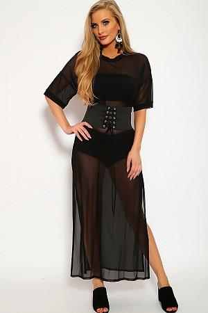 Side Slits Long Mesh Tee Dress