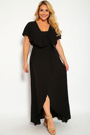 Black Wrap Around Overlay Plus Size Formal Dress