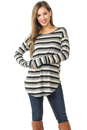 Stripe Round Bottom Long Sleeve Top