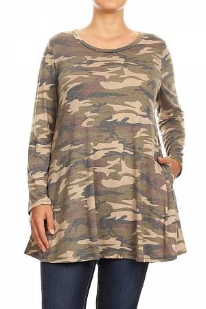 Camo printed long body top