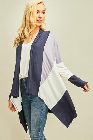 Color block long sleeve draped ...