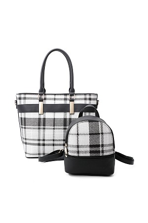 2IN1 MODERN CHECK TOTE AND MIN ...