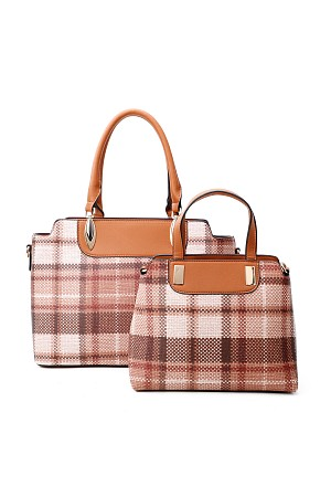 2IN1 CHIC PLAID CHECK SATCHEL  ...
