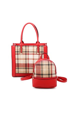 2IN1 PLAID CHECK FRONT TOTE AN ...