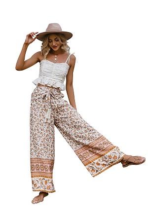 Boho Floral Wide Leg Pants
