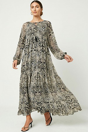 Womens Paisley Print Long Slee ...