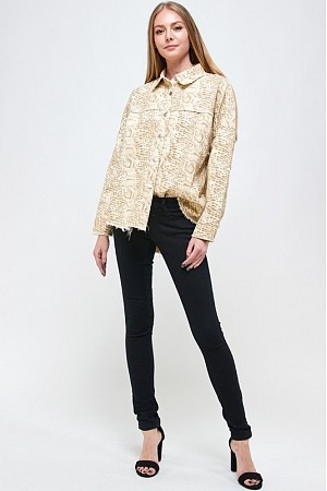 SNAKE PRINT JACKET WITH SNAP B ...