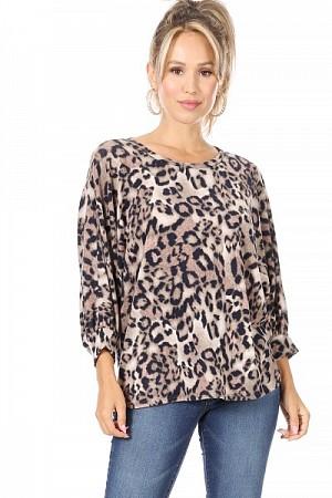 Leopard print sweater top